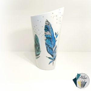 Vase asymétrique Plumes